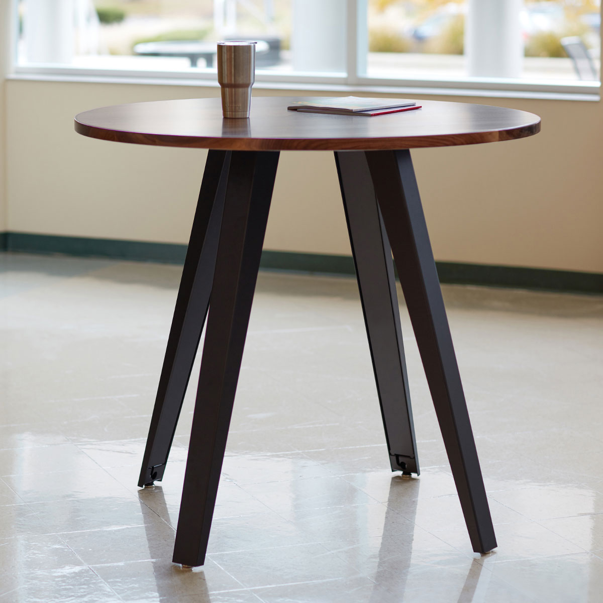bar height table with four angled legs