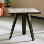 standard height table with three angled legs